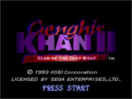 Title screen of Genghis Khan 2: Clan of the Grey Wolf on the Sega Genesis.