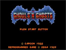 Title screen of Ghouls'n Ghosts on the Sega Genesis.