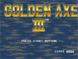 Title screen of Golden Axe III on the Sega Genesis.