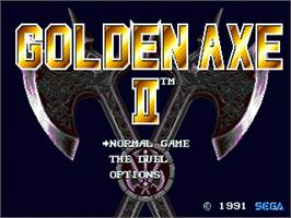 Title screen of Golden Axe II on the Sega Genesis.