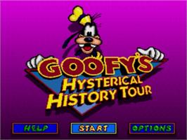Title screen of Goofy's Hysterical History Tour on the Sega Genesis.