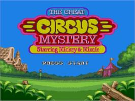 Title screen of Great Circus Mystery, The - starring Mickey and Minnie Mouse on the Sega Genesis.