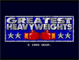 Title screen of Greatest Heavyweights on the Sega Genesis.