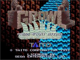 Title screen of Growl on the Sega Genesis.