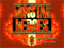 Title screen of Gunstar Heroes on the Sega Genesis.