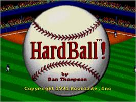 Title screen of HardBall on the Sega Genesis.