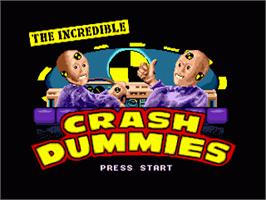 Title screen of Incredible Crash Dummies, The on the Sega Genesis.