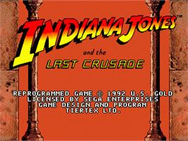 Title screen of Indiana Jones and the Last Crusade: The Action Game on the Sega Genesis.