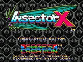 Title screen of Insector-X on the Sega Genesis.
