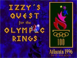 Title screen of Izzy's Quest for the Olympic Rings on the Sega Genesis.