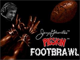 Title screen of Jerry Glanville's Pigskin Footbrawl on the Sega Genesis.