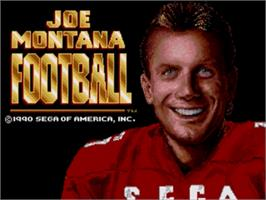 Title screen of Joe Montana Football on the Sega Genesis.