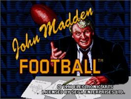 Title screen of John Madden Football on the Sega Genesis.