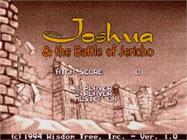 Title screen of Joshua & the Battle of Jericho on the Sega Genesis.