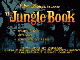 Title screen of Jungle Book, The on the Sega Genesis.