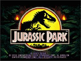 Title screen of Jurassic Park on the Sega Genesis.