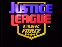 Title screen of Justice League Task Force on the Sega Genesis.