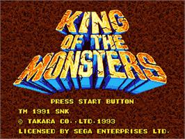 Title screen of King of the Monsters on the Sega Genesis.