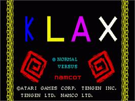 Title screen of Klax on the Sega Genesis.