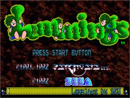 Title screen of Lemmings on the Sega Genesis.