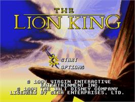 Title screen of Lion King, The on the Sega Genesis.