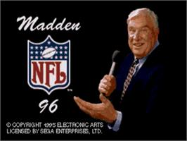 Title screen of Madden NFL '96 on the Sega Genesis.