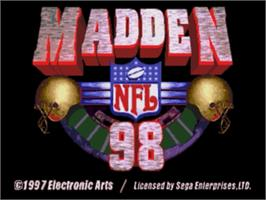 Title screen of Madden NFL '98 on the Sega Genesis.
