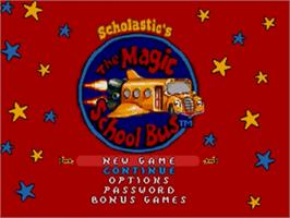 Title screen of Magic School Bus, The on the Sega Genesis.