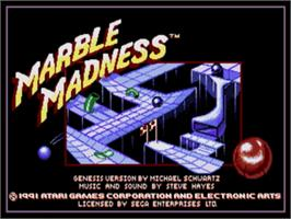 Title screen of Marble Madness on the Sega Genesis.