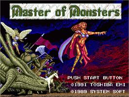 Title screen of Master of Monsters on the Sega Genesis.