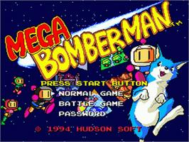 Title screen of Mega Bomberman on the Sega Genesis.
