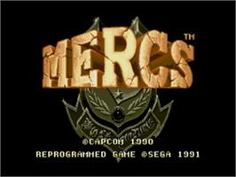 Title screen of Mercs on the Sega Genesis.