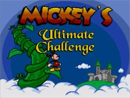 Title screen of Mickey's Ultimate Challenge on the Sega Genesis.