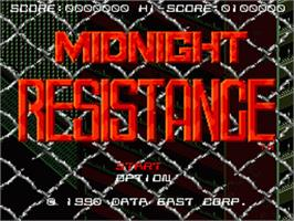 Title screen of Midnight Resistance on the Sega Genesis.