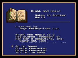 Title screen of Might and Magic 2: Gates to Another World on the Sega Genesis.