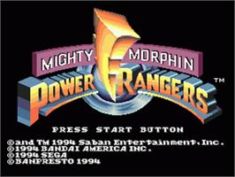 Title screen of Mighty Morphin Power Rangers on the Sega Genesis.