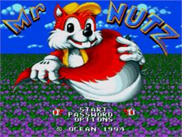 Title screen of Mr Nutz on the Sega Genesis.