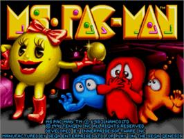 Title screen of Ms. Pac-Man on the Sega Genesis.