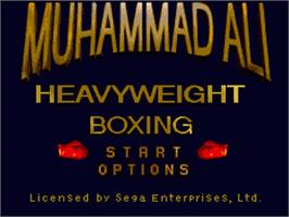 Title screen of Muhammad Ali Heavyweight Boxing on the Sega Genesis.