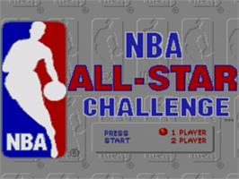 Title screen of NBA All-Star Challenge on the Sega Genesis.
