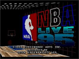 Title screen of NBA Live '95 on the Sega Genesis.