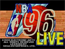 Title screen of NBA Live '96 on the Sega Genesis.