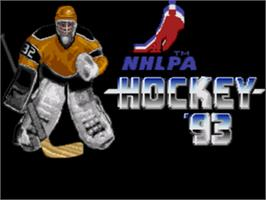 Title screen of NHLPA Hockey '93 on the Sega Genesis.