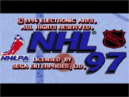 Title screen of NHL '97 on the Sega Genesis.