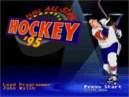 Title screen of NHL All-Star Hockey '95 on the Sega Genesis.