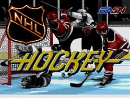 Title screen of NHL Hockey on the Sega Genesis.