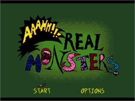 Title screen of Nickelodeon: Aaahh!!! Real Monsters on the Sega Genesis.