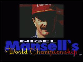 Title screen of Nigel Mansell's World Championship on the Sega Genesis.