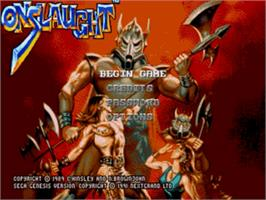 Title screen of Onslaught on the Sega Genesis.
