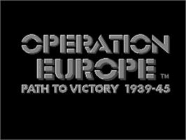 Title screen of Operation Europe: Path to Victory 1939-45 on the Sega Genesis.